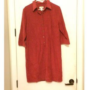 Rust Corduroy Shirt Dress